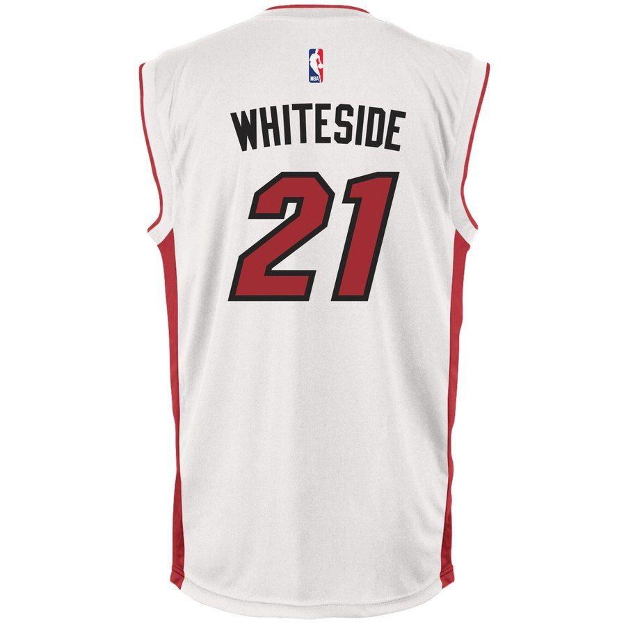 ead7f830003f Men s Miami Heat Hassan Whiteside adidas White Home Replica Jersey  Hassan  Whiteside Heat