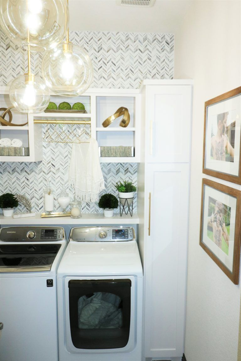 Laundry Room Makeover Built In Top Loader Washer And Dryer Laundry Room Makeover Laundry Room Design Modern Laundry Rooms