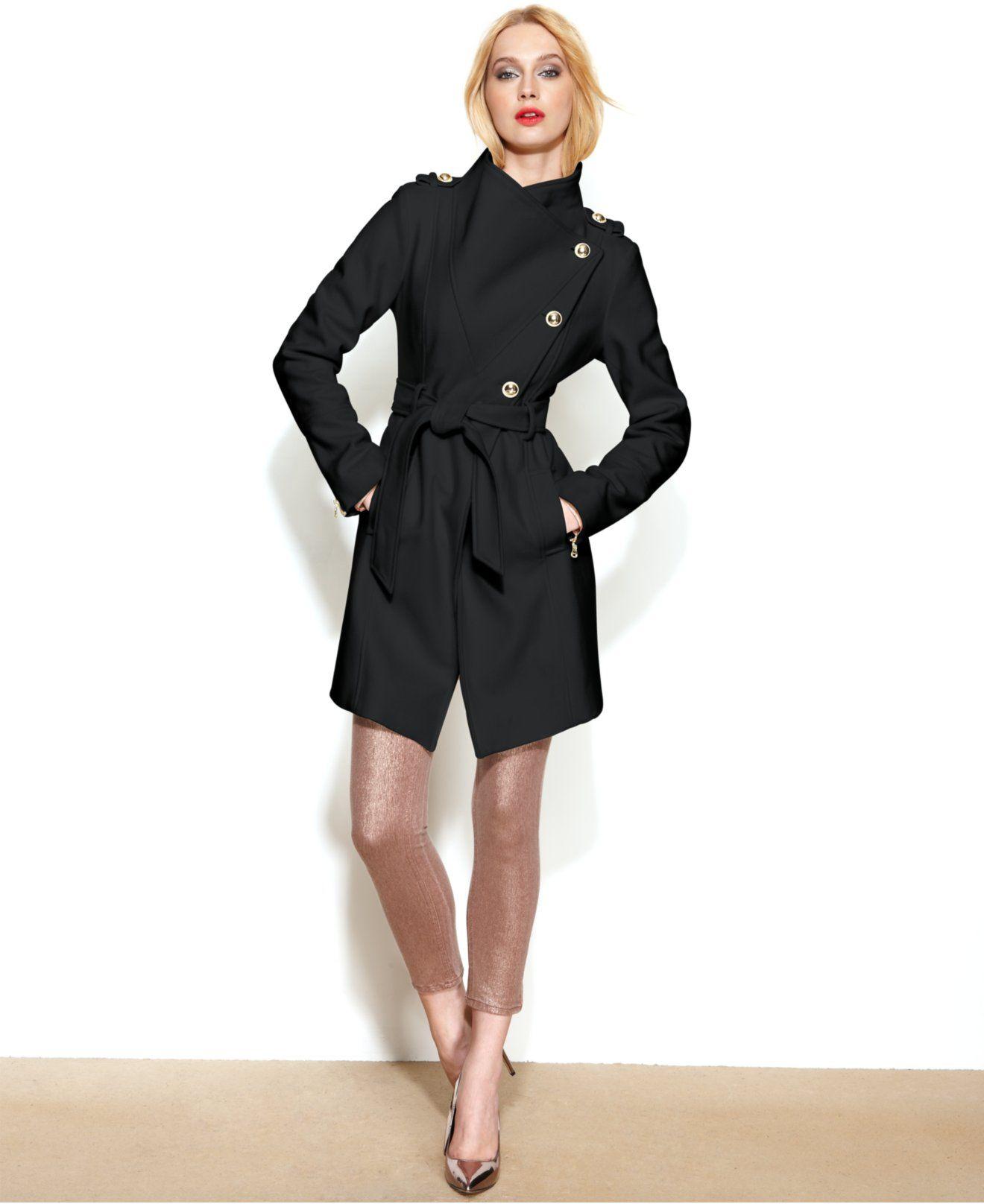 132afc9e8cf GUESS Asymmetrical Wool-Blend Belted Coat - Coats - Women - Macy s ...