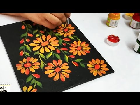 How To Use Acrylic Paints On Black Canvas Acrylic Painting Techniques Acrylic Black Canvas Paintings Canvas Painting Tutorials Acrylic Painting Techniques
