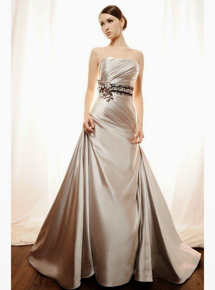vestido de novia corte a, drapeado diagonal, escote recto y cinturon