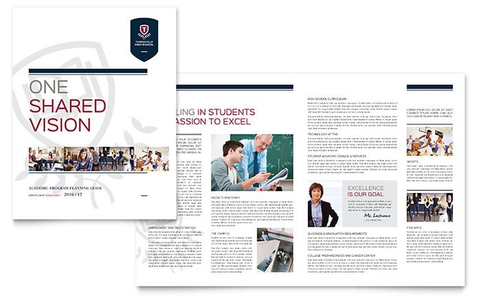 High School Brochure Template Design by StockLayouts yearbook - free bi fold brochure template word