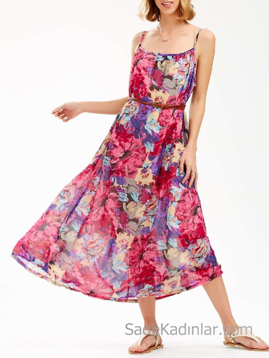 2020 Yazlik Cicekli Sifon Elbise Modelleri Pembe Uzun Ip Askili Desenli Kemerli Elbise Modelleri Sifon Elbise Elbise