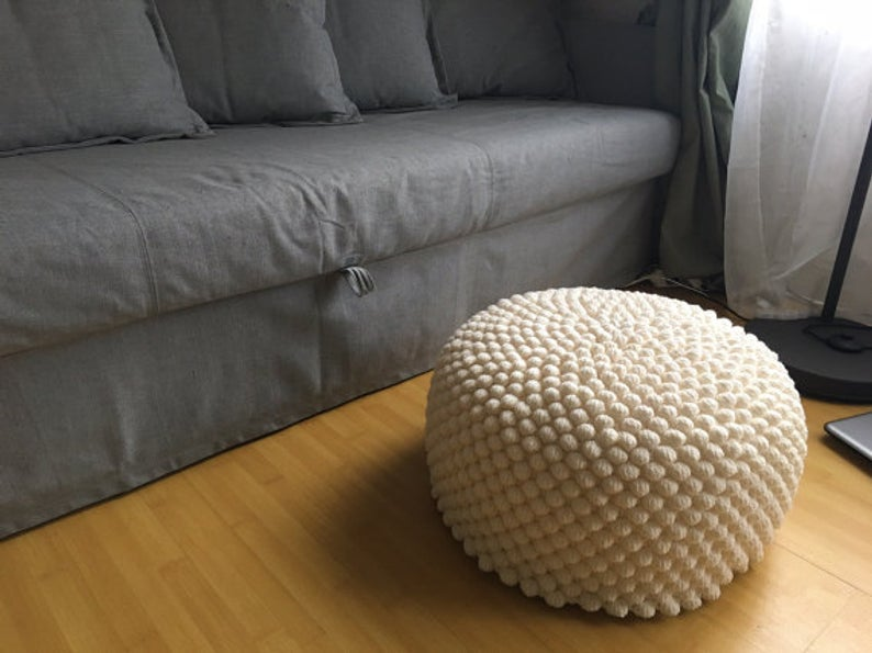 Crochet mustard round stuffed pouf - ottoman / Knit wool footstool / Nursery furniture