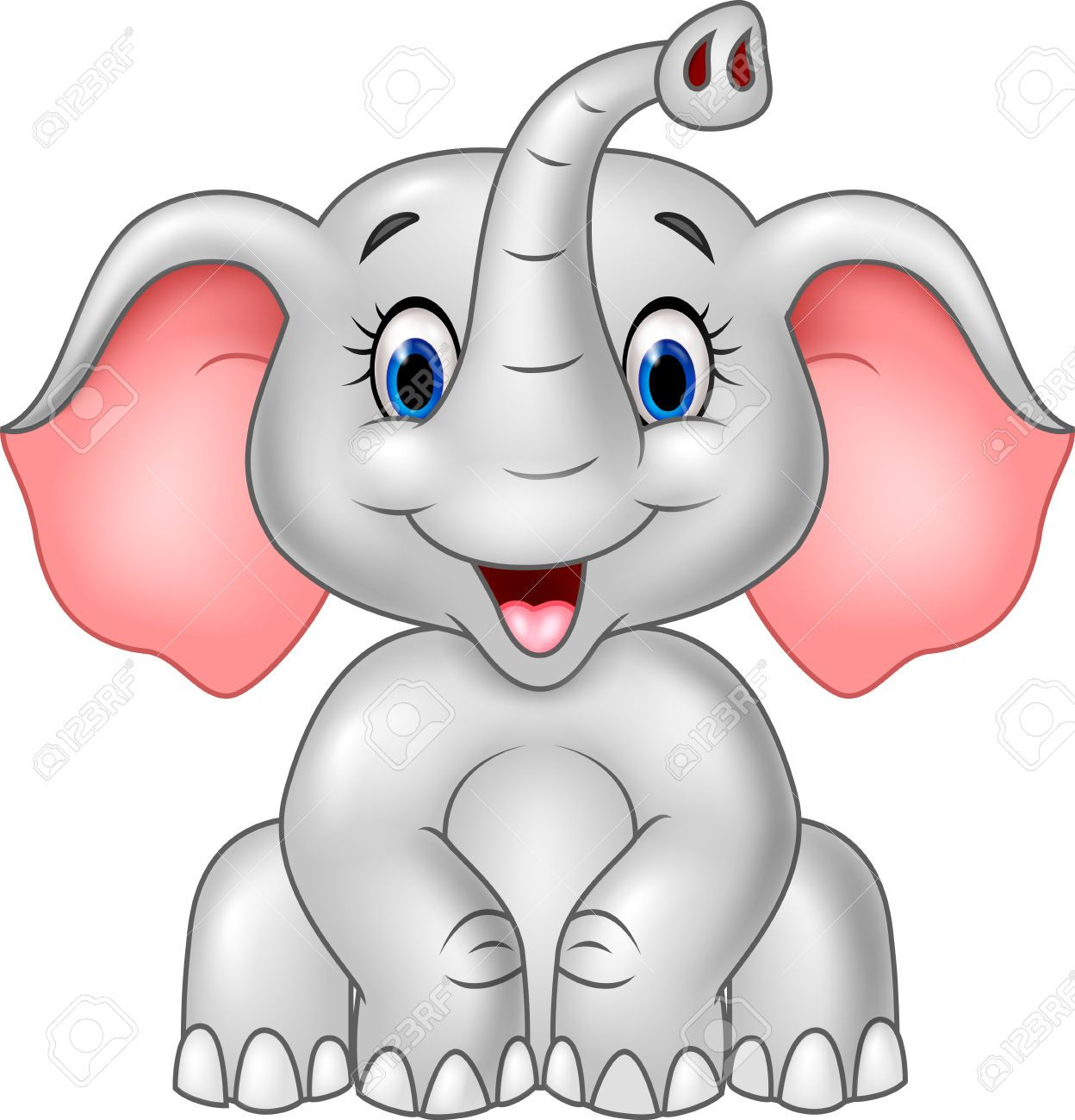 Vector Illustration Of Cartoon Cute Baby Elephant Isolated On Elephant Clip Art Cartoon Elephant Cute Baby Elephant