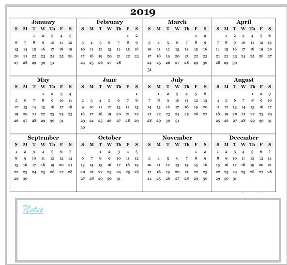 A5 Printable 2019 Calendar