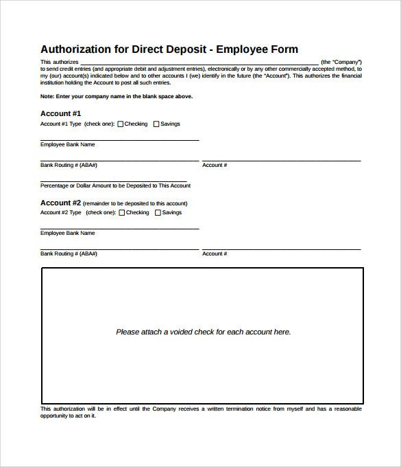 Sample Direct Deposit Authorization Form Examples Download Free Letter Cash  Format