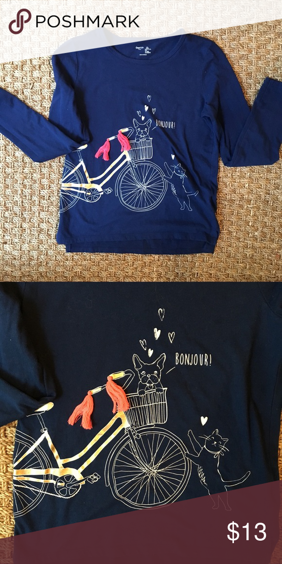 0f24e6b025fd Girls Gap Kids Graphic Tee - Long Sleeve Navy cotton graphic tee featuring  precious pink pom poms and gold accents. Gently worn