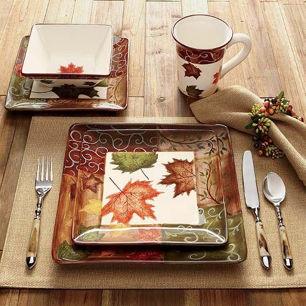 Square Dinner Plates Set - Fall Foliage China --
