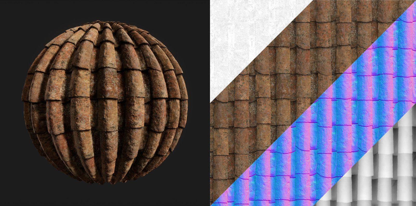 Old Roof Tiles Material, Elias Tsirides on ArtStation at