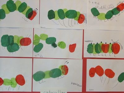 The Very Hungry Caterpillar extension, supply paint and red and green ovals. Paint glue on page, add tissue paper, and then more glue. Once dry add legs, etc.