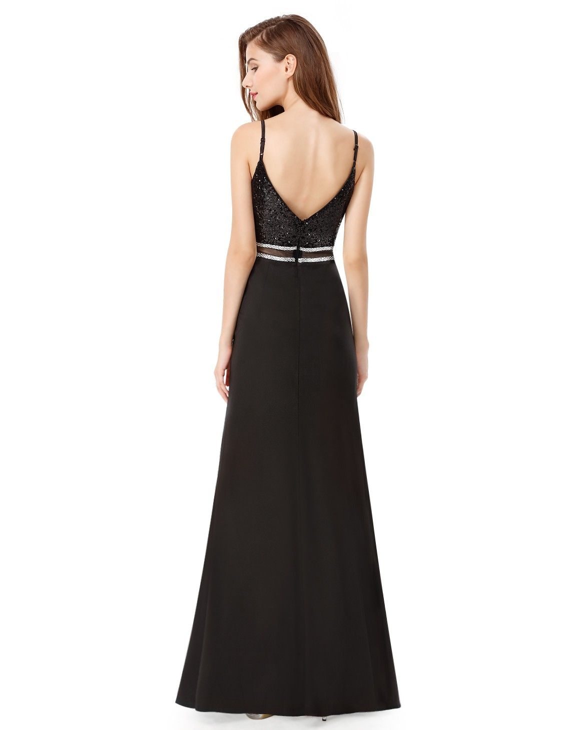 0a793890623 Sleeveless V-Neck Long Prom Dress with Sequins and Sheer Panel
