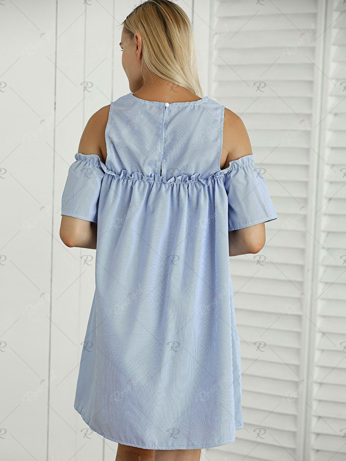 Striped cut out ruffled casual dress for summer ruffles fashion
