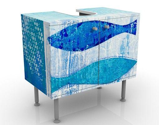 Waschbeckenunterschrank - Fish in the Blue - Maritim Badschrank Blau ...