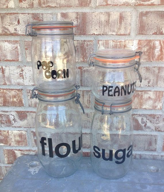 Incredible Set Of Vintage Clear Glass Latch Lid Canister   Rubber Seal    Flour / Sugar / Popcorn / Peanuts   Triomphe On Etsy, $29.95