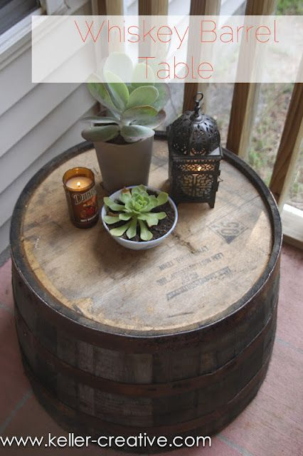 Whiskey Barrel Planter Turned Upside Down To Make An Outdoor Side Table Love This Idea Even For A Coffee Ta Barrel Table Whiskey Barrel Table Whiskey Barrel
