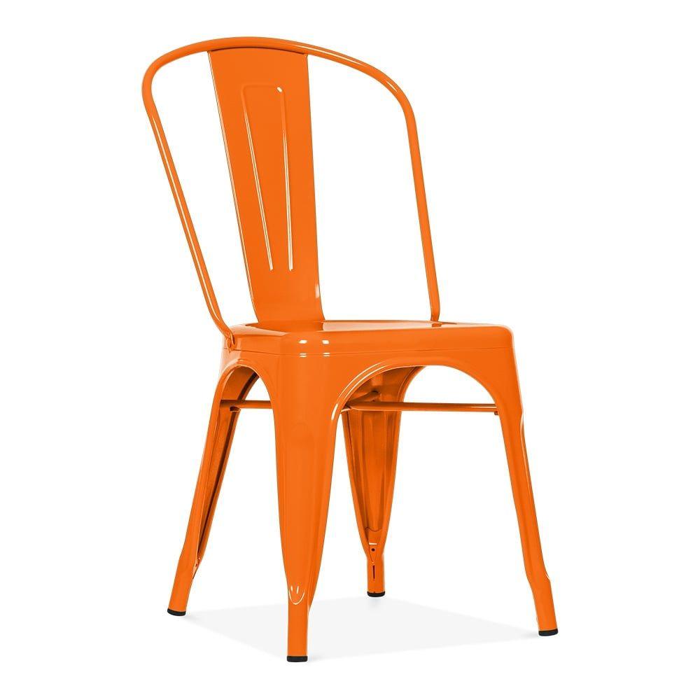 Xavier Pauchard Tolix Style Metal Side Chair Orange Black