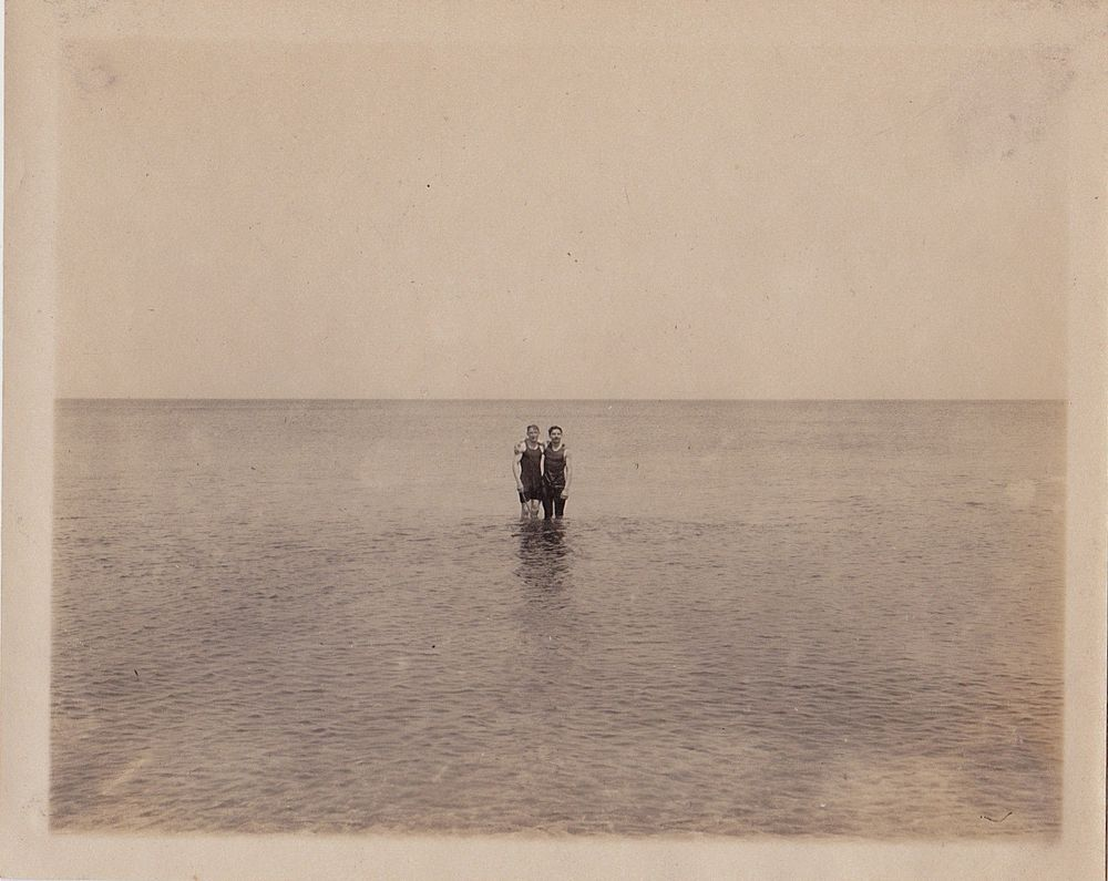 Vintage Antique Photograph Two Men In Bathing Suits Standing Way Out in Ocean