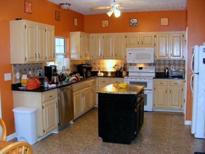 Wände Streichen Ideen Küche Orange Wände Kücheninsel
