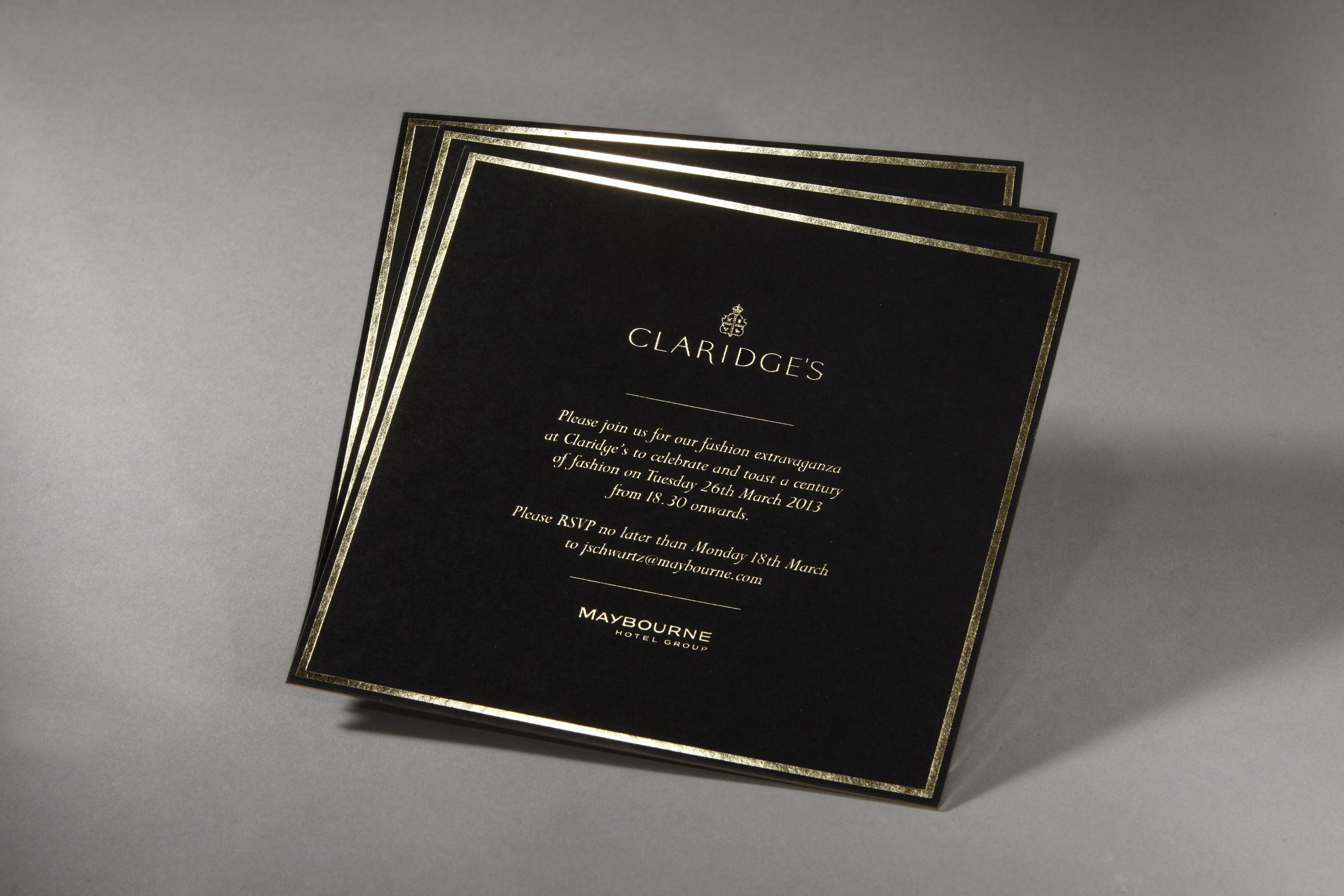 Claridges Gold foil Invite