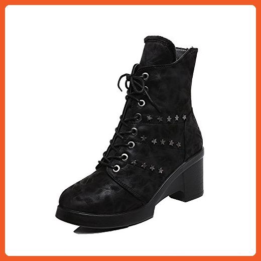 Women's High-Heels Round Closed Toe Imitated Suede Low-Top Solid Zipper Boots Black-Frosted 39
