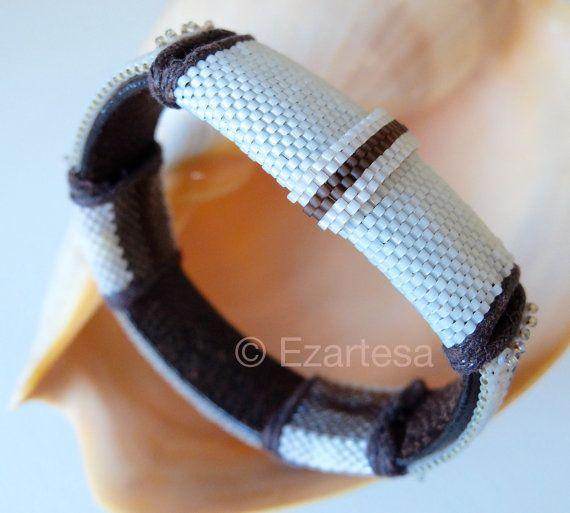 EcoChic Blush, Cream and Brown Seed Bead Beaded Leather Bangle by Ezartesa