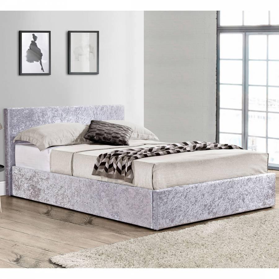 Birlea King Berlin Fabric Ottoman Bed Steel Crushed Velvet