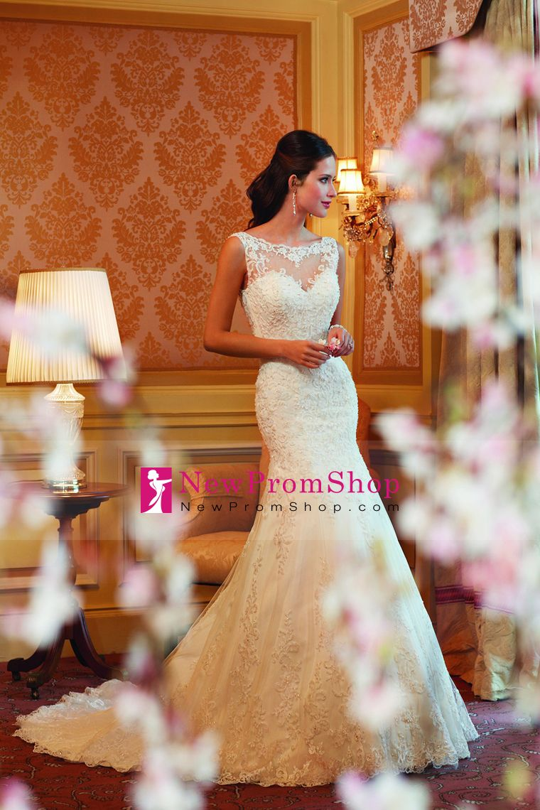 2015 new style wedding dresses trumpet scoop chapel train sleeveless with applique tulle