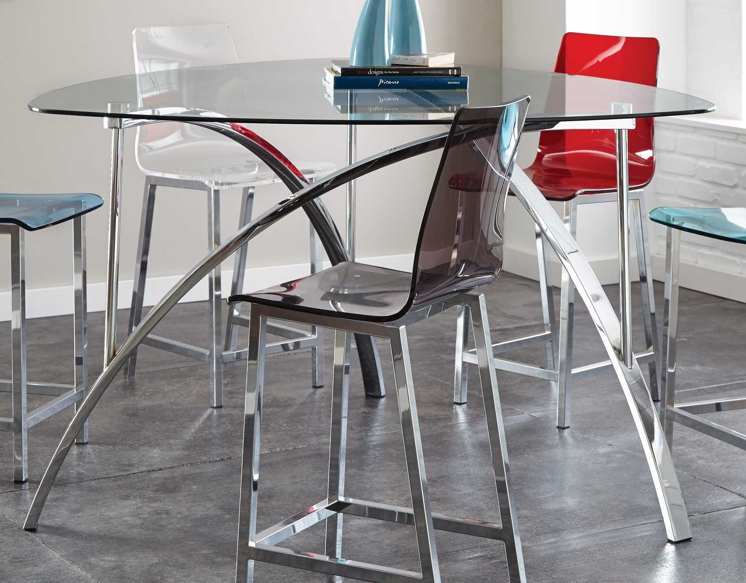 Buy Sicily 60 Inch Triangle Counter Height Table in Chrome on sale online