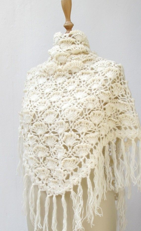 ivory crochet shawl