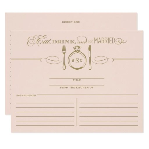 Recipe Card Eat Drink Be Married Theme Wedding Postcard New Orleans