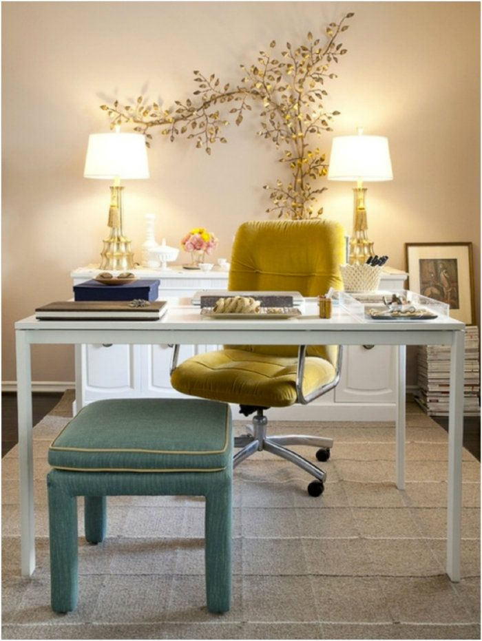 This elegant home office is very feminine and has a clean atmosphere with it\u0027s white furniture. The yellow chair is the central piece in this project and ... & This elegant home office is very feminine and has a clean atmosphere ...