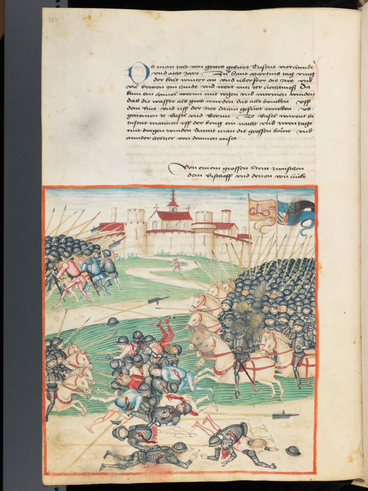 Bern, Burgerbibliothek, Mss.h.h.I.1, f. 302 – Diebold Schilling, Amtliche Berner Chronik, vol. 1 http://www.e-codices.unifr.ch/en/bbb/Mss-hh-I0001/302/0/Sequence-47