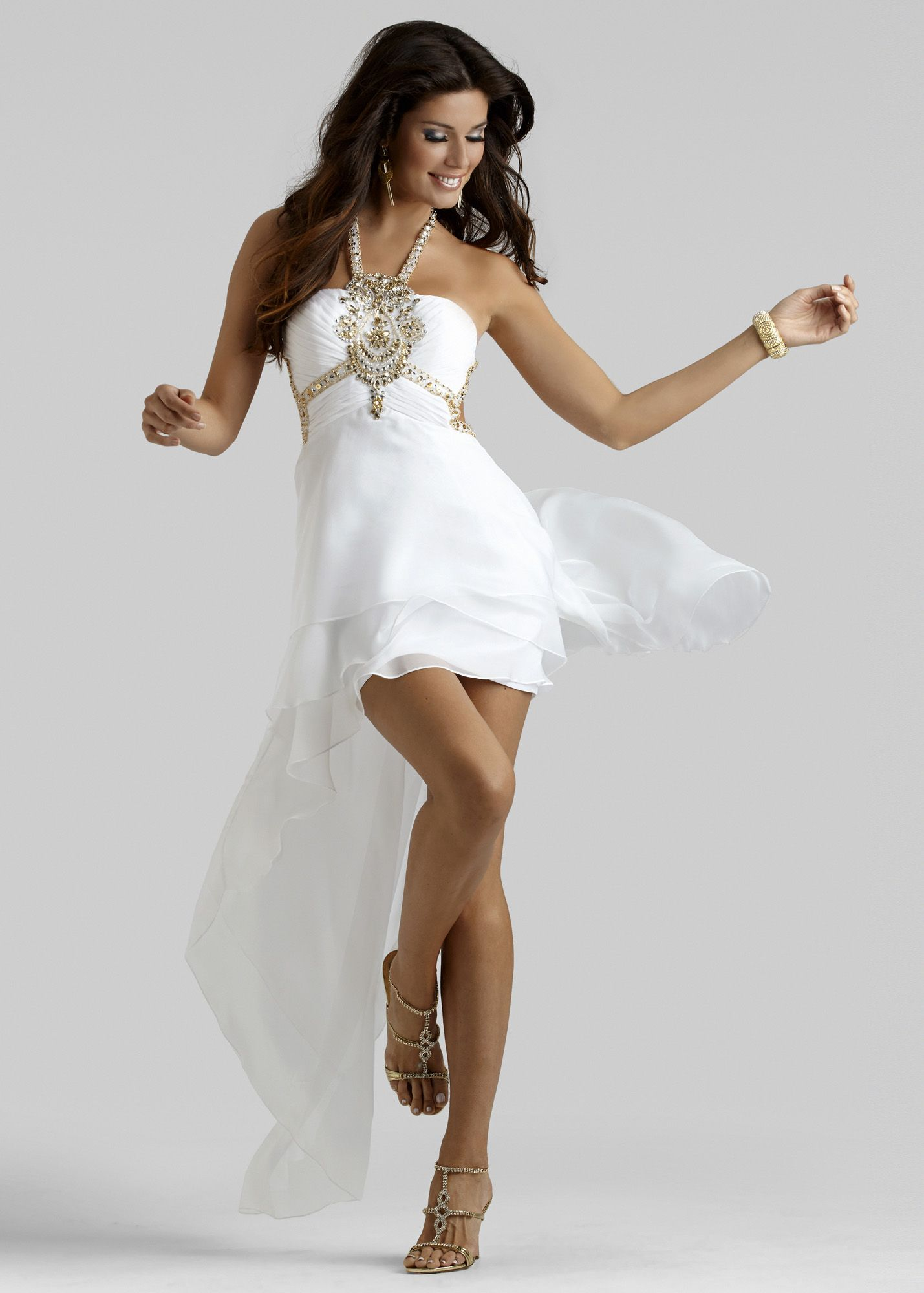 Clarisse white high low halter prom dresses available now at