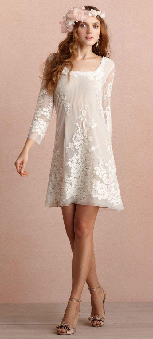 vestido novia corto de manga larga | novias diferentes | pinterest