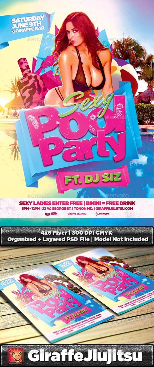 Sexy Pool Party Flyer Template U2014 PSD Template U2022 Only Available Here ➝u2026