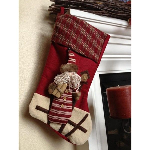 Santa With Gift Christmas Stocking ($26) ❤ liked on Polyvore