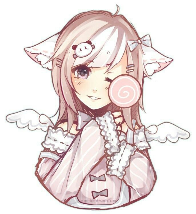 Cute Little Girl With Cat Ears And Angel Wings Kitten Drawing