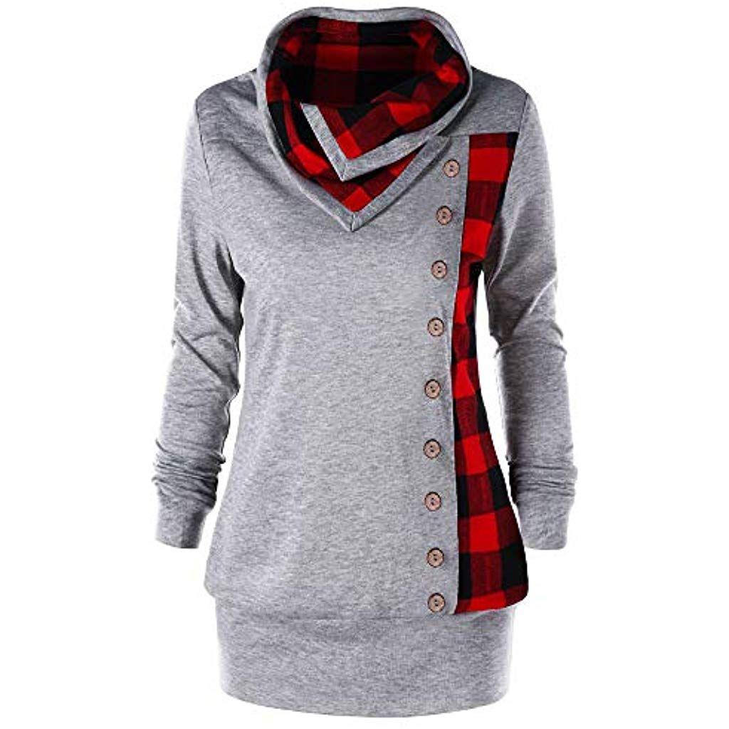 size 40 31645 275c6 TOPKEAL Hoodie Pullover Damen Herbst Winter Langarm Plaid ...