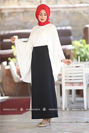 5625bfdafa963 Tek Renk Kalem Etek - Belizz - 3644 - Siyah | Tesettür giyim etek ...