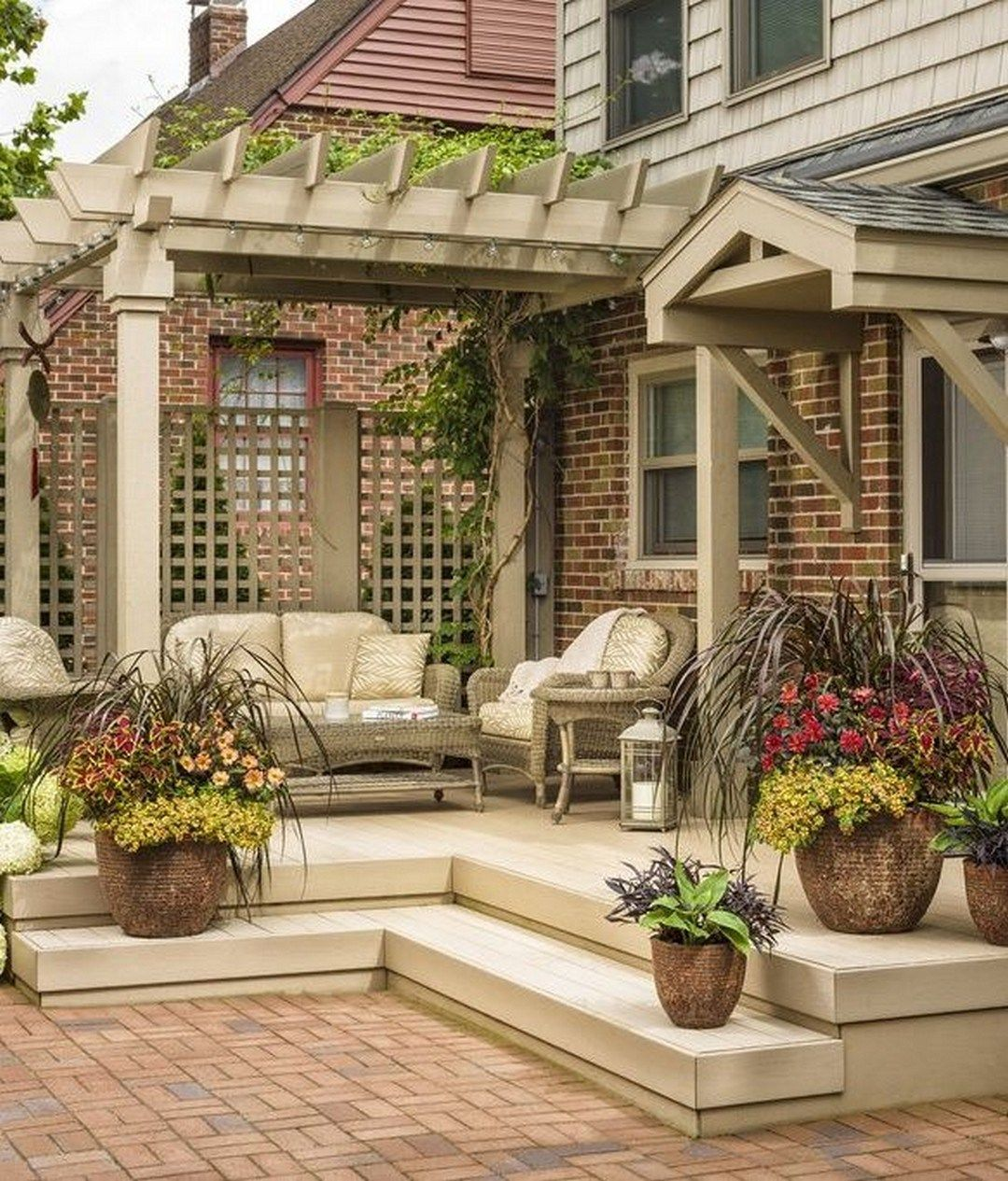 99 Deck Decorating Ideas Pergola Lights And Cement Planters 63