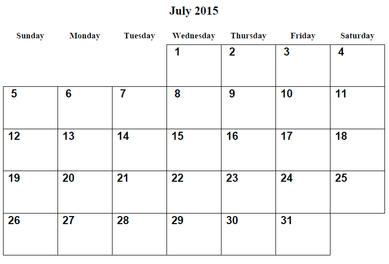 July 2015 Calendar Doc Printable July 2015 Calendar Template Calendar March Calendar Printables Monthly Calendar Printable