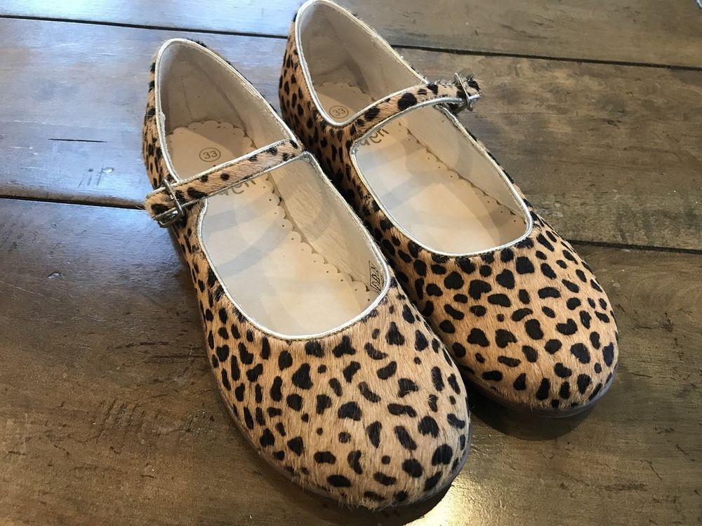 Size 33 Shoe In Us.Girls Mini Boden Cheetah Print Calf Hair Shoes Size 33 Us 2