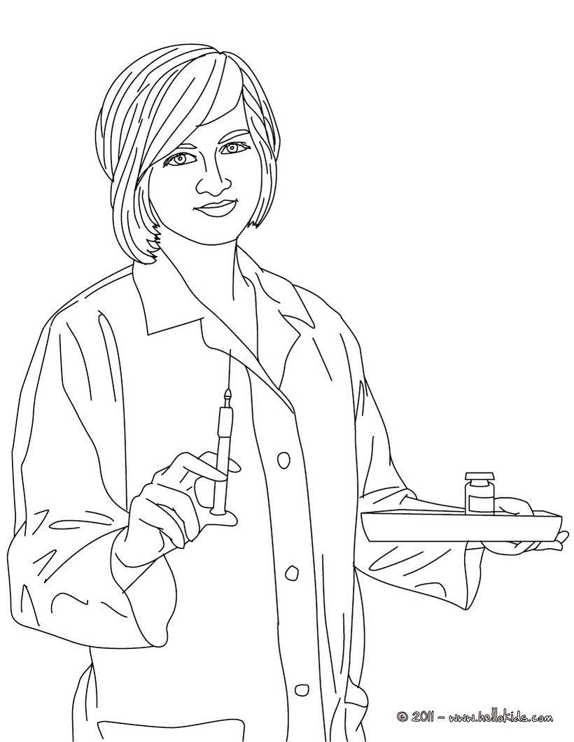 Nurse Coloring Book Pages