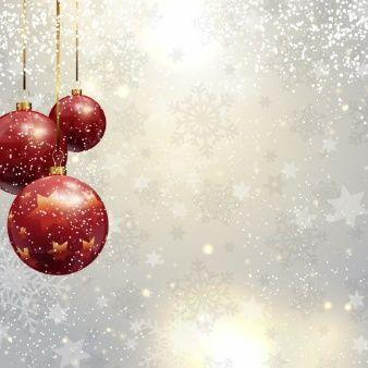 Fondo Navideño Plateado Con Bolas De Navidad Rojas Background