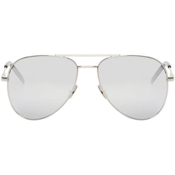 b8a02e585c02 Saint Laurent Silver Classic 11 Aviator Sunglasses ( 330) ❤ liked on Polyvore  featuring accessories