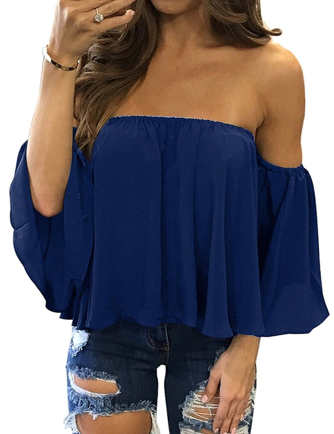Teen Girls Summer 2018 Womens Plus Size Floral Printed Off Shoulder Casual Tops Camis Blouse
