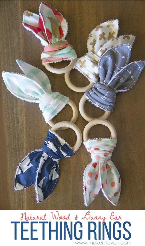 Natural wood & bunny ear teething ring | baby diy projects, diy.