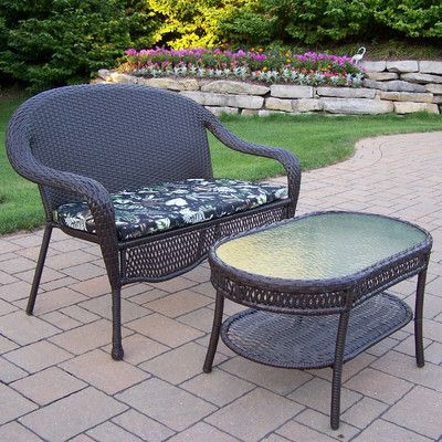 oakland living elite resin wicker 2 piece lounge seating group set
