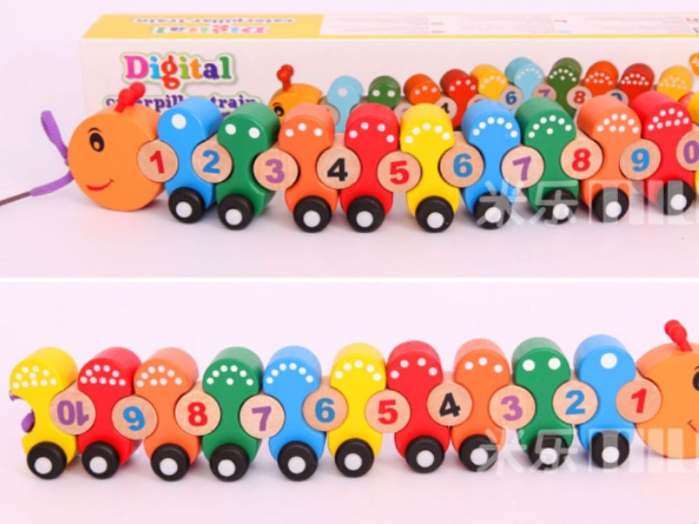 Wooden mathematics number counting Caterpillar Train toy Montessori learning  #Nonbranded